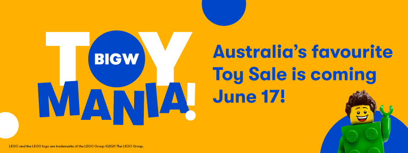 """Lego man waving. Copy says 'Toy Mania. Australia's Favourite Toy Sale is coming June 17"""""""